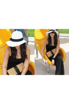 white Forever 21 hat - black new look dress - beige Costa Blanca purse
