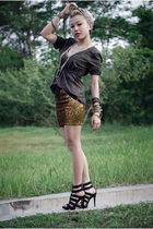 green Esprit top - gold H&M skirt - black Aldo shoes - orange DIY hat - gold