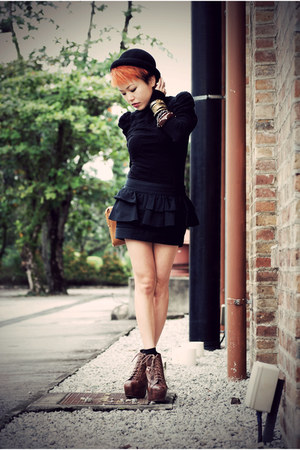black H&M cardigan - black Topshop skirt - dark brown Jeffrey Campbell boots - l