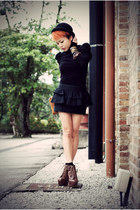 black H&M cardigan - black Topshop skirt - dark brown Jeffrey Campbell boots - l
