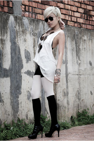 black DIY bra - white RVCA top - black Market shorts - white Topshop stockings -