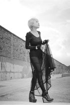 black cotton on suit - black American Apparel leggings - black Topshop skirt - b