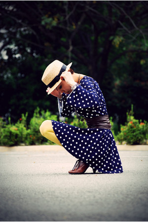 beige boater taiwan hat - dark brown H&M shoes - navy SellingInMyBlog dress