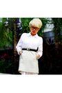 White-h-m-dress-beige-uniqlo-skirt-brown-bally-belt-brown-aldo-shoes-bla