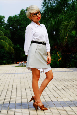 white H&M dress - beige Uniqlo skirt - brown Bally belt - brown Aldo shoes - bla