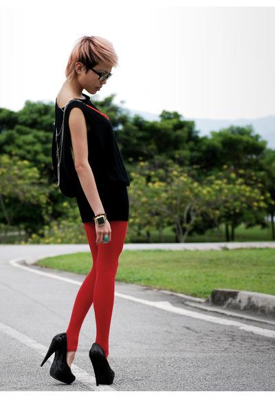 black Topshop dress - red Spain stockings - black Topshop shoes - orange asos ne