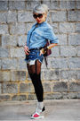 Blue-h-m-top-blue-levis-shorts-black-house-of-holland-tights-silver-taiwan