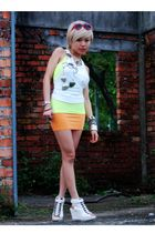 gold Zara top - orange Nobrand skirt - white MickeyMouse t-shirt - white taiwan