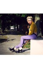 yellow pull&bear top - purple Cheap Monday jeans - black PedderRed shoes - black