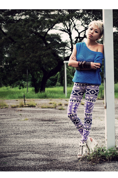 blue Forever 21 top - purple taiwan leggings - white taiwan shoes