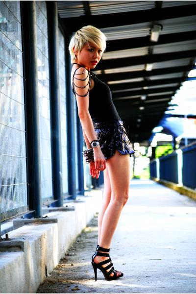 black Aldo shoes - black sequin Zara shorts - black Mango top