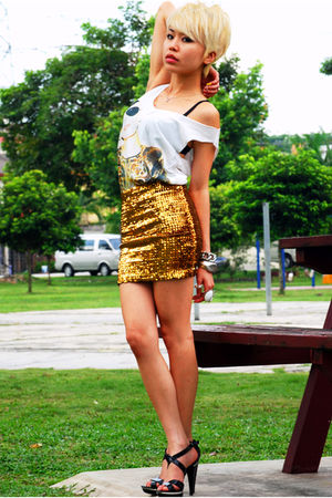 white TiC- StreetMarket top - gold H&M skirt - black Aldo shoes - silver Shangha