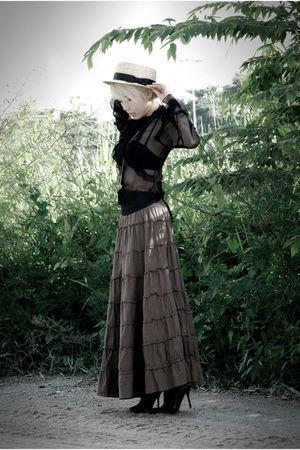 black sheer Topshop top - black Aldo shoes - beige boater taiwan hat