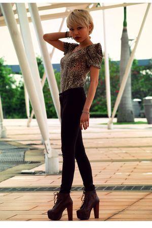 brown Haji Lane- SG top - brown Forever 21 pants - brown Jeffrey Campbell shoes