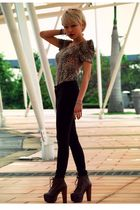 brown Haji Lane- SG top - brown Forever 21 pants - brown Jeffrey Campbell shoes