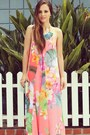 Navy-statement-oia-jules-necklace-light-orange-floral-maxi-isabel-lu-dress