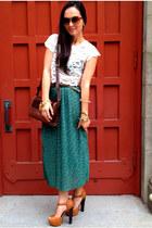 midi Forever 21 skirt - vintage Gucci bag - leopard romwe sunglasses