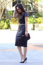 black crop top Express top - black high waist Express skirt