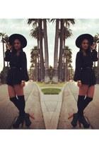 black litas Forever 21 boots - black wide-brim Nasty Gal hat