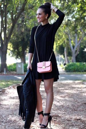 black mini flare Dailylook dress - black fringe Dailylook jacket