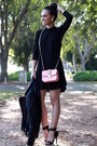 Black-mini-flare-dailylook-dress-black-fringe-dailylook-jacket