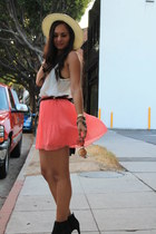 pleats Zara skirt - Vince Camuto boots - white-black Nordstrom hat