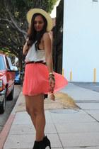 pleats Zara skirt - Vince Camuto boots - white-black Nordstrom hat