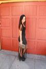 Black-fringe-nastygal-dress-heather-gray-vintage-gucci-bag