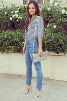 navy striped blouse Charlotte Russe top - blue skinny Rich Skinny Jeans jeans