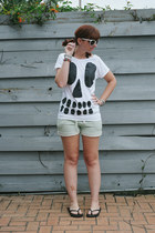 white skull Lazy Oaf shirt - aquamarine terry Conversation Pieces shorts