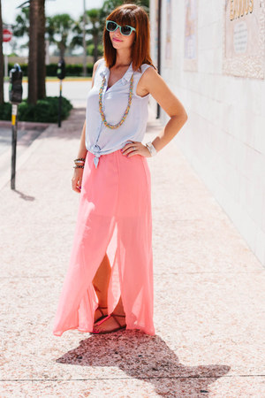 light blue sleeveless H&M blouse - bubble gum maxi TJ Maxx skirt