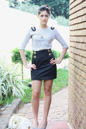 white Zara top - black DIY skirt - gray Prato shoes - white versace accessories