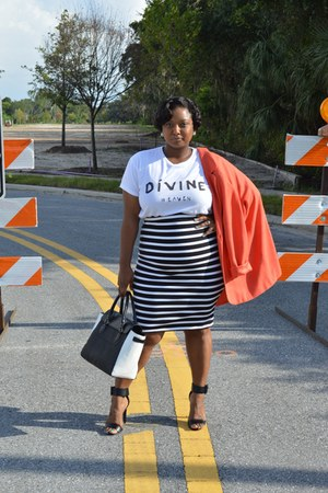 praise clothing la shirt - Express skirt - GoJane heels