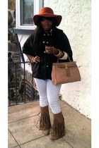 felt floppy hat Urban Outfitters hat - fringe suede Forever 21 boots - H&M jeans
