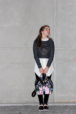 Eureka shoes - BLANCO jacket - velvet Stradivarius leggings - Parfois bag