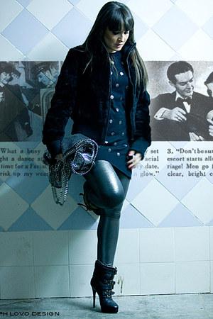 black Burberry Prorsum boots - black lapin Whos who jacket - black polka dots To