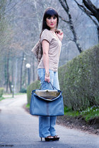 blue Dolce&Gabbana jeans - camel tweed Dolce&Gabbana jacket - teal peekaboo Fend