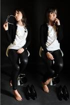 black American Apparel leggings - white handmade t-shirt - black celyn b sweater