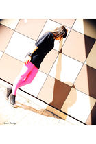 pink American Apparel leggings - black m missoni shirt - black Jeffrey Campbell
