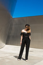 Black-round-sunglasses-tan-t-strap-pumps-black-high-waisted-pants