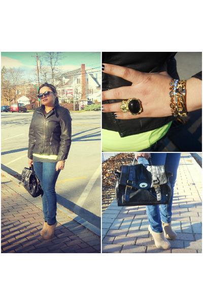 jacket - jeans - heels