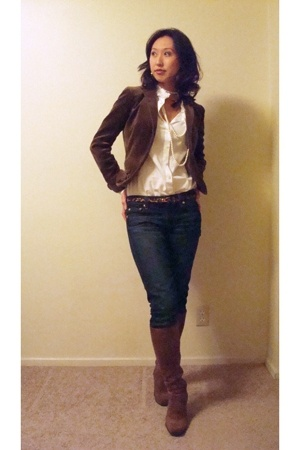 JCrew jacket - JCrew shirt - Express necklace - JCrew belt - J Crew jeans - fran