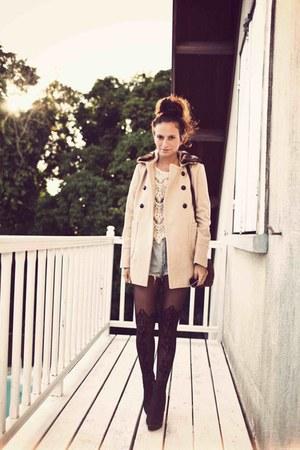 new look coat - Topshop tights