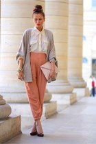 orange H&M pants - beige Zara cardigan