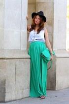 turquoise blue zara Skirt skirt - white Tee t-shirt