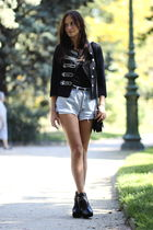black Queens Wardrobe blazer - blue vintage shorts - black sam edelman boots