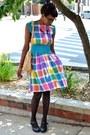 Turquoise-blue-thrifted-dress-black-sheer-polka-dot-leg-avenue-tights