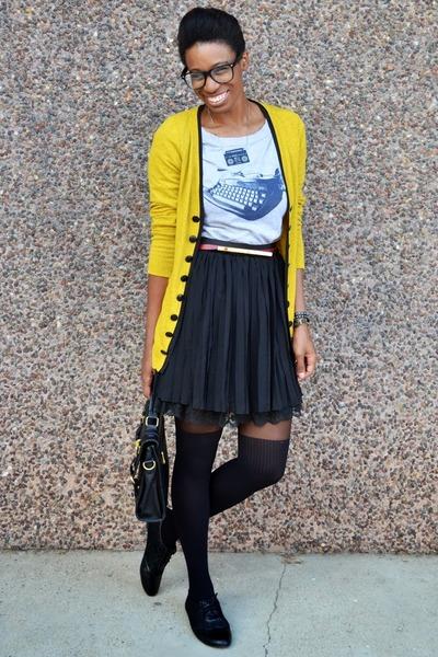 yellow Look Basic cardigan - black asos tights - heather gray Fluffy Co t-shirt
