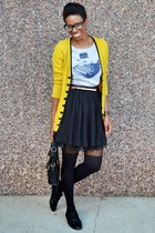 yellow Look Basic cardigan - black asos tights - heather gray Fluffy Co t-shirt