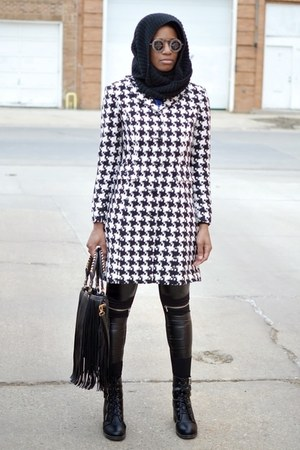 black thrifted boots - black houndstooth thrifted vintage coat